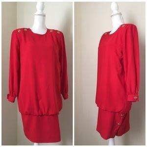 VINTAGE 80'S Albert Nipon Red Drop-waist Dress